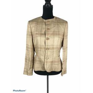 Ralph Lauren Collection Purple Label Linen Plaid Blazer Jacket Size 10 Italy